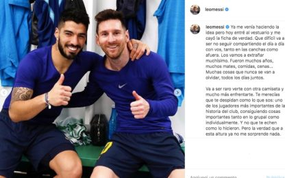 "Messi saluta Suarez: ""Meritavi un addio diverso"""