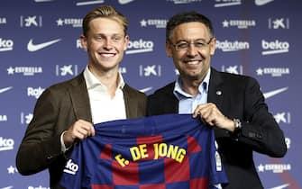 Frenkie De Jong during his presentation as FC Barcelona new player with the president Josep Maria Bartomeu. Camp Nou Stadium. Barcelona, Spain - 05 JULY 2019.