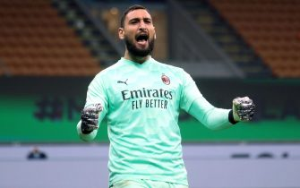 AC Milan's goalkeeper Gianluigi Donnarumma  jubilates  during the Italian serie A soccer match between Fc Inter and Ac Milan at Giuseppe Meazza stadium in Milan, Italy, 17 October 2020.