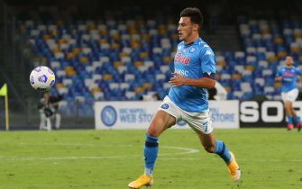 Napoli's forward Elmas  in action during Italian Serie A soccer match between SSc Napoli and Genoa CFC at the San Paolo stadium in Naples,  27 September 2020.