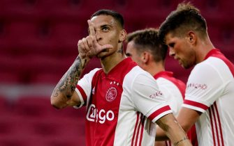 epa08592285 Ajax's Antony (L) celebrates after scoring the 5-1 goal during the friendly soccer match between Ajax Amsterdam and RKC Waalwijk in Amsterdam, The Netherlands, 08 August 2020.  EPA/OLAF KRAAK