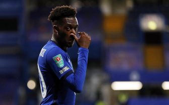 epa08692160 Callum Hudson-Odoi of Chelsea reacts during the English Carabao Cup third round soccer match between Chelsea FC and Barnsley FC in London, Britain, 23 September 2020.  EPA/Alastair Grant / POOL EDITORIAL USE ONLY. No use with unauthorized audio, video, data, fixture lists, club/league logos or 'live' services. Online in-match use limited to 120 images, no video emulation. No use in betting, games or single club/league/player publications.