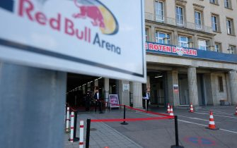 LEIPZIG, GERMANY - MAY 16: A general view outside the stadium prior to the Bundesliga match between RB Leipzig and Sport-Club Freiburg at Red Bull Arena on May 16, 2020 in Leipzig, Germany. The Bundesliga and Second Bundesliga is the first professional league to resume the season after the nationwide lockdown due to the ongoing Coronavirus (COVID-19) pandemic. All matches until the end of the season will be played behind closed doors. (Photo by Sebastian Willnow/Pool via Getty Images)