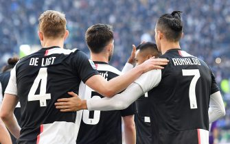 Juventus Matthijs De Ligt jubilates with his teammate Cristiano Ronaldo after scoring the goal (3-0) during the Italian Serie A soccer match Juventus FC vs ACF Fiorentina at the Allianz stadium in Turin, Italy, 2 February 2020 ANSA/ ALESSANDRO DI MARCO