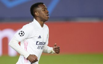 Vinicius Jr. of Real Madrid during the Champions League match, round of 16, between Real Madrid and Atalanta played at Alfredo Di Stefano Stadium on March 16, 2020 in Madrid, Spain. (Photo by Ruben Albarran / PRESSINPHOTO)