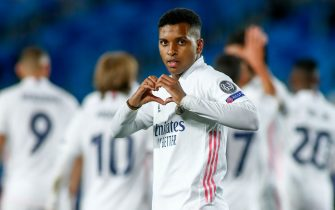 Rodrygo Silva de Goes of Real Madrid celebrates a goal during the UEFA Champions League, Group Stage, Group B football match between Real Madrid CF and FC Internazionale on November 3, 2020 at Alfredo Di Stefano stadium in Valdebebas near Madrid, Spain - Photo Oscar J Barroso / Spain DPPI / DPPI / LM