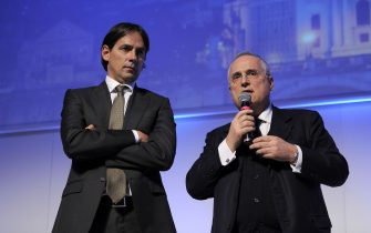 ROME, ITALY - DECEMBER 19:  SS Lazio head coach Simone Inzaghi with his President Claudio Lotito attend the SS Lazio Christmas dinner at Spazio Novecento on December 19, 2018 in Rome, Italy.  (Photo by Marco Rosi/Getty Images)
