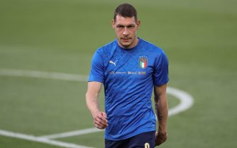 Bologna, Italy, 4th June 2021. Andrea Belotti of Italy during the warm up prior to the International Football Friendly match at Stadio Dall'Ara, Bologna. Picture credit should read: Jonathan Moscrop / Sportimage via PA Images