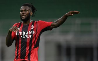 MILAN, ITALY - May 16, 2021: Franck Kessie of AC Milan gestures during the Serie A football match between AC Milan and Cagliari Calcio. The match ended 0-0 tie. (Photo by Nicolò Campo/Sipa USA)