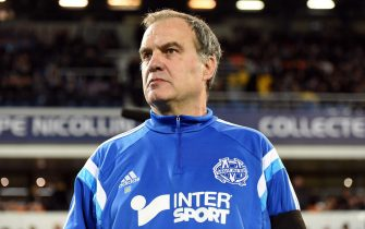 Marseille's Argentine head coach Marcelo Bielsa attends the French L1 football match between Montpellier and Marseille at the La Mosson Stadium in Montpellier, southern France, on January 9, 2015. AFP PHOTO / PASCAL GUYOT        (Photo credit should read PASCAL GUYOT/AFP/Getty Images)