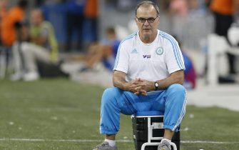 epa04877791 Olympique Marseille Argentinean head coach Marcelo Bielsa reacts during the soccer league 1 match between Olympique Marseille and SM Caen, at Velodrome stadium, Marseille, Southern France, 8 August 2015. Bielsa announced his resignation from the soccer club, in a surprise move, minutes after Olympique Marseille's 0-1 loss to SM Caen.  EPA/GUILLAUME HORCAJUELO