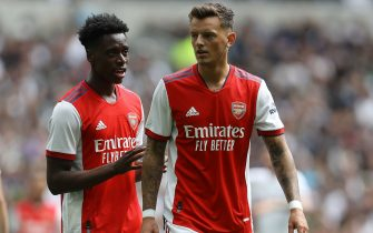 London, England, 8th August 2021. Ben White (R) and Sambi Lokonga of Arsenal during the Pre Season Friendly match at the Tottenham Hotspur Stadium, London. Picture credit should read: Paul Terry / Sportimage via PA Images