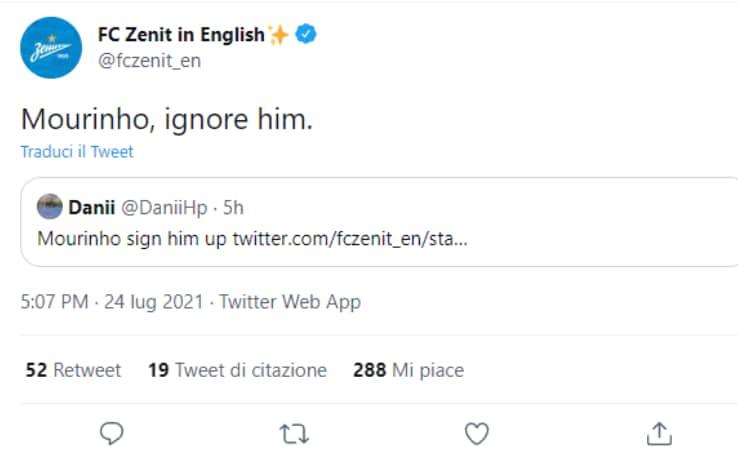 Il tweet dello Zenit