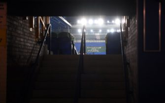 General view from inside an empty concourse before the Premier League match at Goodison Park, Liverpool. Picture date: Monday March 1, 2021.