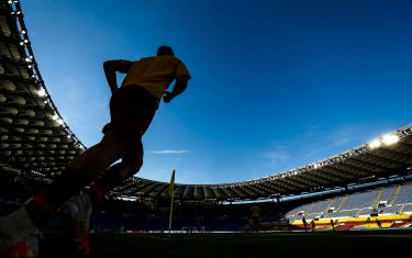 Empty seats are seen before the Italian Serie A soccer match AS Roma vs ACF Fiorentina at Olimpico stadium in Rome, Italy, 26 July 2020. ANSA/ANGELO CARCONI