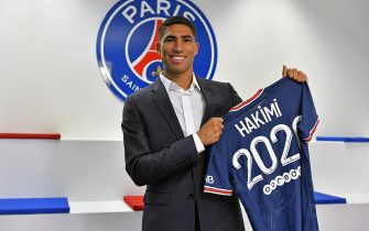 PARIS, FRANCE - JULY 06: Achraf Hakimi signs a 5 year contract with the Paris Saint-Germain at  on July 06, 2021 in Paris, France. (Photo by Aurelien Meunier - PSG/PSG via Getty Images)