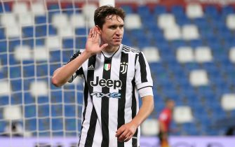 Reggio Emilia, Italy, 19th May 2021. Federico Chiesa of Juventus celebrates after scoring to give the side a 2-1 lead during the Coppa Italia match at Mapei Stadium - Cittˆ del Tricolore, Sassuolo. Picture credit should read: Jonathan Moscrop / Sportimage via PA Images