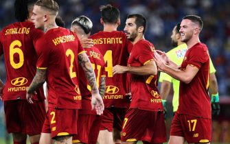 Henrikh Mkhitaryan of Roma (2R) celebrates with his teammates after scoring 3-0 goal during the Pre-Season Friendly football match between AS Roma and Raja Casablanca on August 14, 2021 at Stadio Olimpico in Rome, Italy - Photo Federico Proietti / DPPI