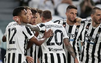 TURIN, ITALY - AUGUST 14, 2021: Juventus players celebrate during the friendly match between JUVENTUS FC and ATALANTA BC at Alliance Stadium in Turin, Italy on August 14, 2021.  Credit: Nderim Kaceli / Medialys Images/Sipa USA