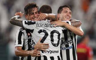 Turin, Italy, 14th August 2021. Federico Bernardeschi of Juventus celebrates with team mates Paulo Dybala and Federico Chiesa after scoring to give the side a 2-1 lead during the Pre Season Friendly match at Allianz Stadium, Turin. Picture credit should read: Jonathan Moscrop / Sportimage via PA Images