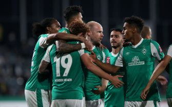 JENA, GERMANY - SEPTEMBER 12: Josh Sargent (#19) of Werder Bremen celebrates after scoring his team's opening goal with team mates during the DFB Cup first round match between FC Carl Zeiss Jena and Werder Bremen at Ernst-Abbe-Sportfeld on September 12, 2020 in Jena, Germany. (Photo by Ronny Hartmann/Getty Images)