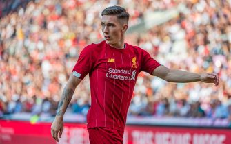 GENEVA, SWITZERLAND - JULY 31: #59 Harry Wilson of Liverpool FC looks on during the Pre-Season Friendly match between Liverpool FC and Olympique Lyonnais at Stade de Geneve on July 31, 2019 in Geneva, Switzerland. (Photo by RvS.Media/Robert Hradil/Getty Images)