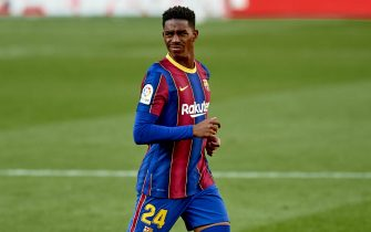 Junior Firpo of FC Barcelona looks ahead during the La Liga match between FC Barcelona and CA Osasuna played at Camp Nou Stadium on November 29, 2020 in Barcelona, Spain. (Photo by PRESSINPHOTO)