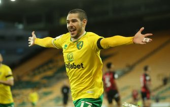 Emi Buendia #17 of Norwich City celebrates after making it 1-0 in Norwich, UK on 4/17/2021. (Photo by Glenn Sparkes/News Images/Sipa USA)