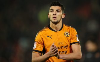 BARNSLEY, ENGLAND - JANUARY 13: Rafa Mir of Wolverhampton Wanderers applauds the fans  during the Sky Bet Championship match between Barnsley and Wolverhampton at Oakwell Stadium on January 13, 2018 in Barnsley, England. (Photo by Robbie Jay Barratt - AMA/Getty Images)