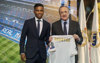 MADRID, SPAIN - JUNE 18: Rodrygo is presented as a new player of Real Madrid CF with Florentino Pérez at Estadio Santiago Bernabeu on June 18, 2019 in Madrid, Spain. (Photo by Quality Sport Images/Quality Sport Images)