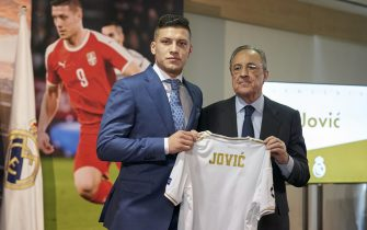MADRID, SPAIN - JUNE 12: Luka Jovic is presented as new player of Real Madrid CF Presidenta and player pose with the Jerseyat Estadio Santiago Bernabeu on June 12, 2019 in Madrid, Spain. (Photo by Quality Sport Images/Getty Images)