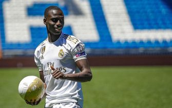 epa07657848 Real Madrid's new signing French player Ferland Mendy during his presentation at Santiago Bernabeu stadium in Madrid, Spain, 19 June 2019. Mendy, 24, has signed a contract with the Spanish LaLiga club Real Madrid for the next six seasons.  EPA/Emilio Naranjo
