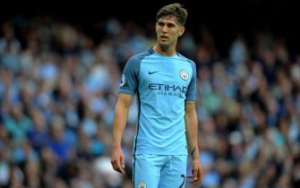 epa05480875 Manchester City's John Stones in action during the English Premier League soccer match between Manchester City and Sunderland at Etihad Stadium, Manchester, Britain, 13 August  2016. EDITORIAL USE ONLY. No use with unauthorized audio, video, data, fixture lists, club/league logos or 'live' services. Online in-match use limited to 75 images, no video emulation. No use in betting, games or single club/league/player publications  EPA/PETER POWELL