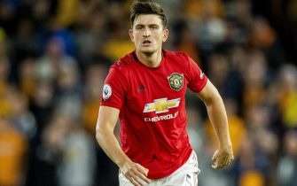 epa07781499 Manchester United's Harry Maguire in action during the English Premier League soccer match between Wolverhampton Wanderers and Manchester United held at the Molineux in Wolverhampton, Britain, 19 August 2019.  EPA/PETER POWELL EDITORIAL USE ONLY. No use with unauthorized audio, video, data, fixture lists, club/league logos or 'live' services. Online in-match use limited to 120 images, no video emulation. No use in betting, games or single club/league/player publications