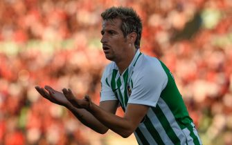 Rio Ave's Portuguese forward Fabio Coentrao gestures during the Portuguese league football match Rio Ave FC vs SL Benfica at the Dos Arcos stadium in Vila do Conde on May 12, 2019. (Photo by MIGUEL RIOPA / AFP)        (Photo credit should read MIGUEL RIOPA/AFP via Getty Images)