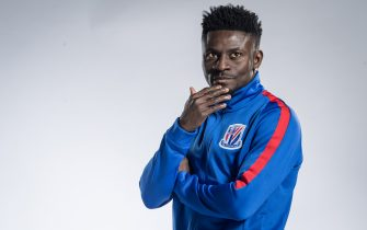 **EXCLUSIVE**   (CHINA,FRANCE,GERMANY OUT)  Portrait of Nigerian soccer player Obafemi Martins of Shanghai Greenland Shenhua F.C. for the 2018 Chinese Football Association Super League, in Shanghai, China, 2 February 2018. (Photo by Imaginechina/MB Media/Getty Images)