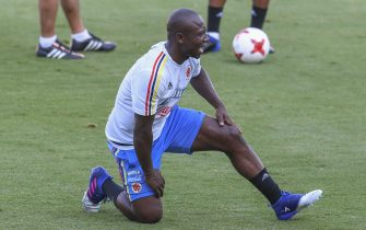 Colombia's defender Pablo Armero stretches during a training session at the Metropolitano Stadium, in Barranquilla on March 21, 2017 ahead of their FIFA World Cup South American qualifier football matches against Bolivia and Ecuador . / AFP PHOTO / Luis Acosta        (Photo credit should read LUIS ACOSTA/AFP via Getty Images)