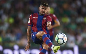SEVILLE, SPAIN - SEPTEMBER 25:  Samuel Garcia of Levante UD in action during the La Liga match between Real Betis and Levante at Estadio Benito Villamarin on September 25, 2017 in Seville, .  (Photo by Aitor Alcalde Colomer/Getty Images)