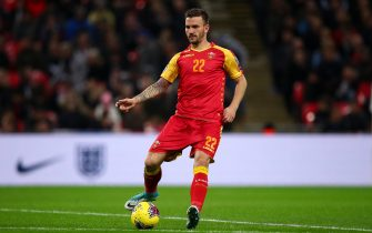 LONDON, ENGLAND - NOVEMBER 14: Marko Simi of Montenegro during the UEFA Euro 2020 qualifier between England and Montenegro at Wembley Stadium on November 14, 2019 in London, England. (Photo by Robbie Jay Barratt - AMA/Getty Images)