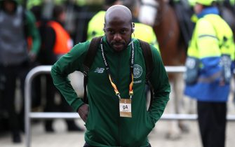 GLASGOW, SCOTLAND - SEPTEMBER 20: Youssouf Mulumbu of Celtic arrives at the stadium prior to the UEFA Europa League Group B match between Celtic and Rosenborg at Celtic Park on September 20, 2018 in Glasgow, United Kingdom.  (Photo by Ian MacNicol/Getty Images)