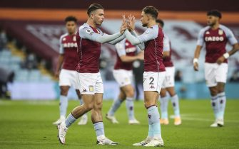 epa08768868 Aston Villa players Jack Grealish (L) and Matthew Cash (R) prepare for the English Premier League soccer match between Aston Villa and Leeds United in Birmingham, Britain, 23 October 2020.  EPA/Nick Potts / POOL EDITORIAL USE ONLY. No use with unauthorized audio, video, data, fixture lists, club/league logos or 'live' services. Online in-match use limited to 120 images, no video emulation. No use in betting, games or single club/league/player publications.