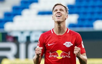epa08481536 Leipzig's Dani Olmo celebrates scoring the 2-0 lead during the German Bundesliga soccer match between 1899 Hoffenheim and RB Leipzig in Sinsheim, Germany, 12 June 2020.  EPA/UWE ANSPACH / POOL CONDITIONS - ATTENTION: The DFL regulations prohibit any use of photographs as image sequences and/or quasi-video.