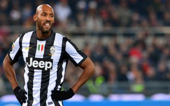 Juventus' French forward Nicolas Anelka reacts during the Italian Serie A football match between AS Roma and Juventus on February 16, 2013 at the Olympic Stadium in Rome. AS Roma defeated Juventus 1-0.   AFP PHOTO / GABRIEL BOUYS        (Photo credit should read GABRIEL BOUYS/AFP/Getty Images)