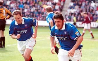 Rangers' Rino Gattuso celebrates scoring with Alex Cleland