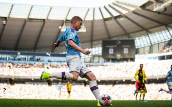 MANCHESTER, ENGLAND - SEPTEMBER 21: Kevin De Bruyne of Manchester City during the Premier League match between Manchester City and Watford FC at Etihad Stadium on September 21, 2019 in Manchester, United Kingdom. (Photo by Robbie Jay Barratt - AMA/Getty Images)