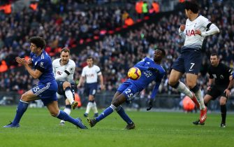 LONDON, ENGLAND - FEBRUARY 10: Christian Eriksen of Tottenham scores a goal to make it 2-0 during the Premier League match between Tottenham Hotspur and Leicester City at Wembley Stadium on February 10, 2019 in London, United Kingdom. (Photo by James Williamson - AMA/Getty Images)