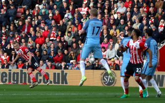 SOUTHAMPTON, ENGLAND - APRIL 15: James Ward-Prowse of Southampton takes a freekick during the Premier League match between Southampton and Manchester City at St Mary's Stadium on April 15, 2017 in Southampton, England.  (Photo by Michael Steele/Getty Images)