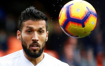 epa08295339 (FILE) - Valencia's Ezequiel Garay in action during the Spanish La Liga soccer match between Valencia CF and Real Sociedad in Valencia, eastern Spain, 10 February 2019 (re-issued on 15 March 2020). Valencia's Ezequiel Garay was tested positive for coronavirus, the player confirmed on 15 March 2020. All Spanish La Liga soccer matches have been suspended amid the coronavirus COVID-19 pandemic.  EPA/MIGUEL ANGEL POLO