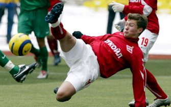 MOSCOW - MARCH 20:  Alexandr Pavlenko of Spartak Moscow competes for the ball during the Football Russian League Championship match between Spartak Moscow v Rubin Kazan on March 20, 2005 in Moscow, Russia. (Photo by Dima Korotayev/Pressphotos/Getty Images)