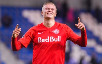Salzburg's Erling Braut Haaland celebrates after winning the game between Belgian soccer team KRC Genk and Austrian club RB Salzburg, Wednesday 27 November 2019 in Genk, on the fifth day of the group stage of the UEFA Champions League, in the group E. BELGA PHOTO LAURIE DIEFFEMBACQ (Photo by LAURIE DIEFFEMBACQ/BELGA MAG/AFP via Getty Images)